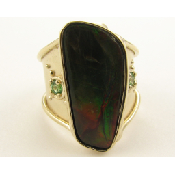 Ammolite and Green, 14K Yellow Gold