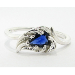 Sapphire Silver Ring, Vintage Leaf
