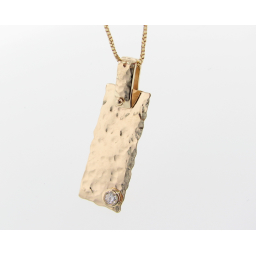 Hammered Diamond Necklace, Yellow Gold