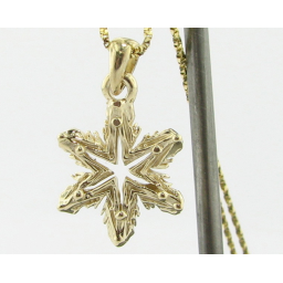Yellow Gold Snowflake Necklace, Ludington
