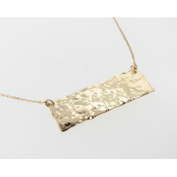 Hammered Necklace, Wide Rectangle in Yellow Gold