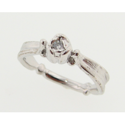 Tulip Ring, Sterling Silver & Diamond