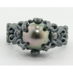 Black Pearl Silver Ring, Victorian, Blackened Sterling