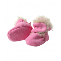 Zutano Cozie Fleece Booties Shaggy Hot Pink