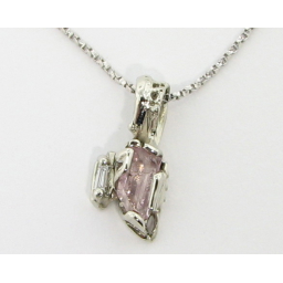 Raw Pink Beryl White Gold Pendant, Rough