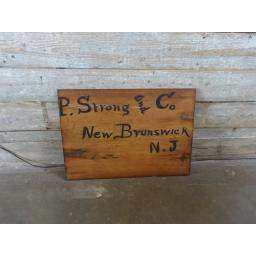 P. Strong and Co New Brunswick NJ Wood Sign