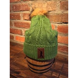 Beanie Green Fur Knit