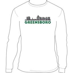 T Shirt, LG, Greensboro Long Sleeve LARGE White