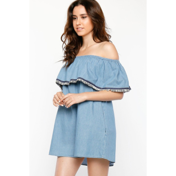 Flounce Chambray Dress
