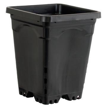 "Active Aqua 7""x7"" Square Black Pot 9"" Tall, Per Unit"
