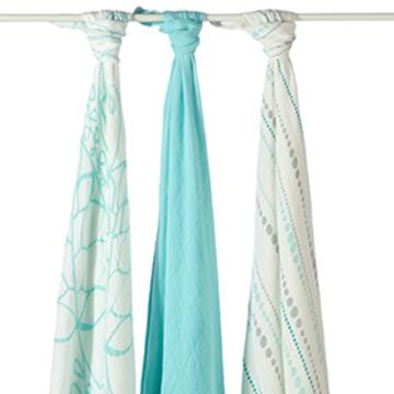 a+a Bamboo Swaddle Blankets_ Azure
