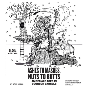 Against the Grain x Holy Mountain 'Ashes to Mashes, Nuts to Butts' Amber Ale aged in Bourbon Barrels 750ml