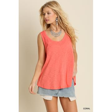 Sleeveless Tank Top with Lace Detail