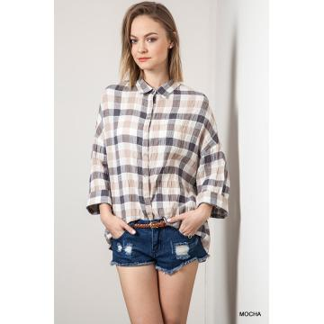 Umgee Plaid Button Up Collared Top
