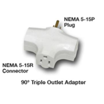 Hydrofarm 90 Degree Tri Tap Adapter, White