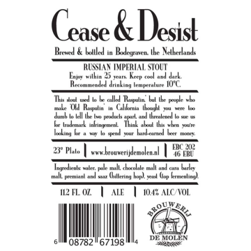 De Molen 'Cease & Desist' Russian Imperial Stout 330 ml Sgl