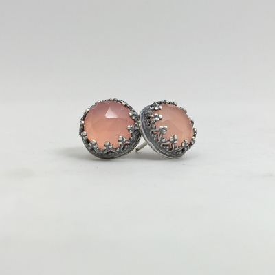 Enlightenment Studs with Peach Chalcedony