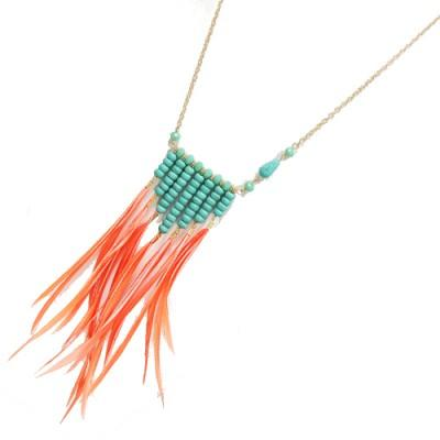 The Beaded Feather Pendant Necklace