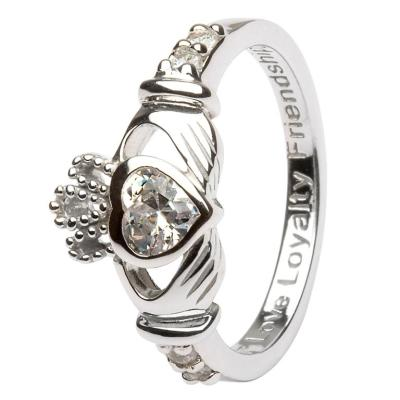 Ring: SS Claddagh April Clear CZ Birthstone