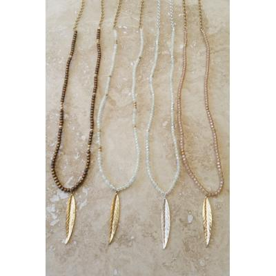 Bead & Leaf Long Necklace