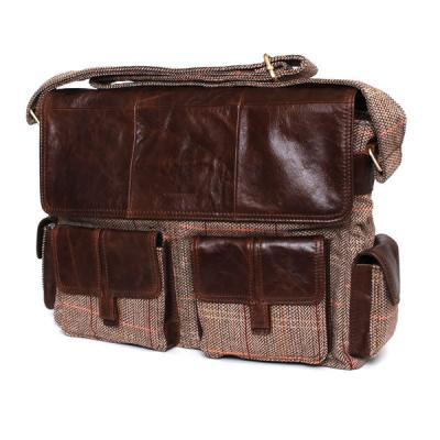 Bag: Gweedore Laptop Brown Orange, Red Check