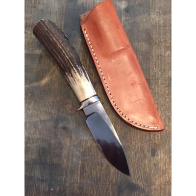 "A G Russell Drop Point Hunter 3.75"" Solid Stag Handle Knife"