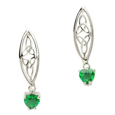 Earrings: Sil Trinity Green Heart