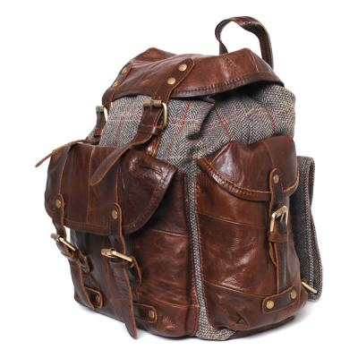 Bag: Finne Rucksack Grey Check Tweed and Leather
