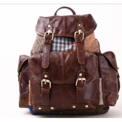 Bag: Finne Rucksack Patch Tweed and Leather