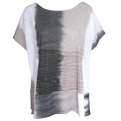 Alembika Watercolor Short Sleeve Top - White, Navy, Taupe