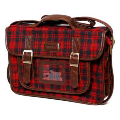 Bag: Malin More Satchel Red Check Tweed and Leather