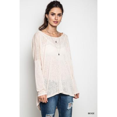 High Low Long Sleeve Top