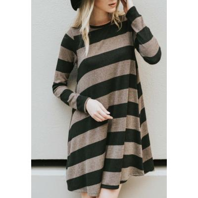 Striped Black and Mocha Dress