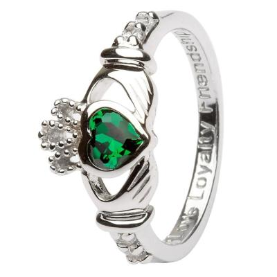 Ring: SS Claddagh May Green CZ Birthstone