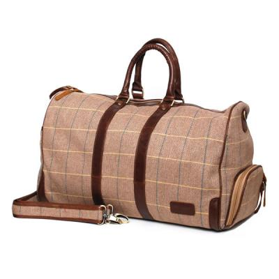 Bag:  Errigal Weekender Tan, Yellow, Blue Check Leather