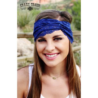 Navy Lace Head Wrap