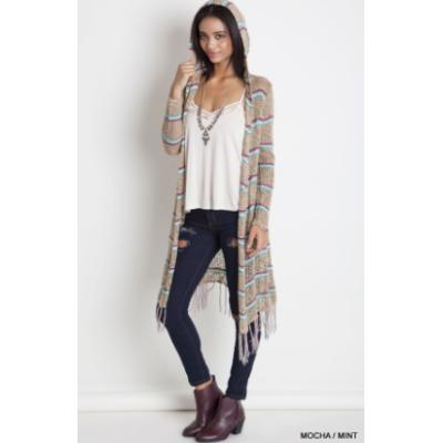 Hooded Striped Cardi