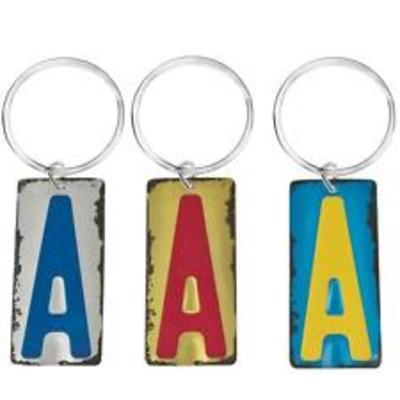 Letter License Plate Keyring