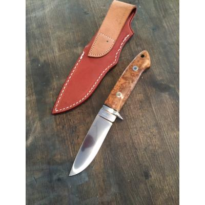 "A G Russell Burl Drop Point Hunter 3 7/8"" ATS-34 Japan // Instagram"