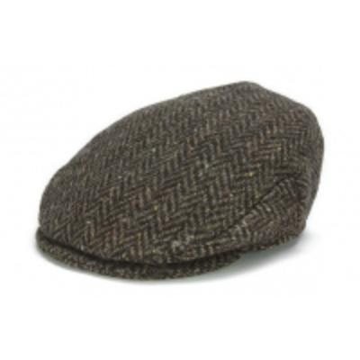 Hat: Vintage Wool Herringbone Cap, Brown