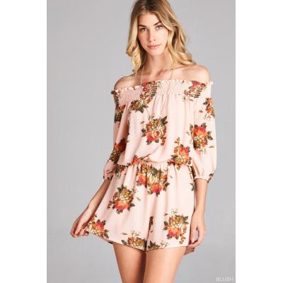 Floral Frenzy Off The Shoulder Romper