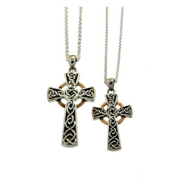 Pendant: Oxidized Sterling & 10k Circle Cross