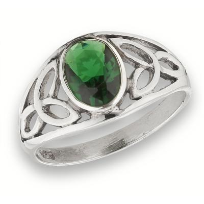 Ring: Green CZ, Signet, Trinity, Open, SS
