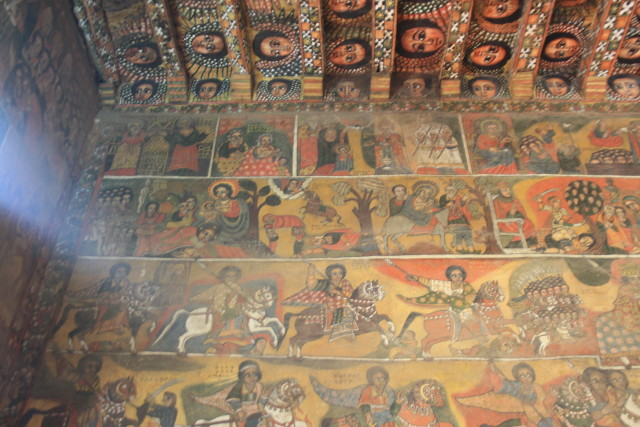 The wall and ceiling of Selassie Church