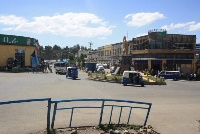 The central Piassa square in Gondar. You can see Italian-built art deco style buildings (in the process of being renovated).