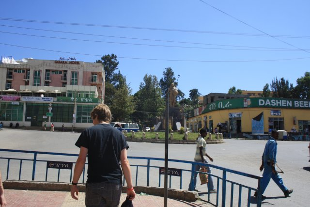 Rory strolling around Gondar town in the blazing heat.