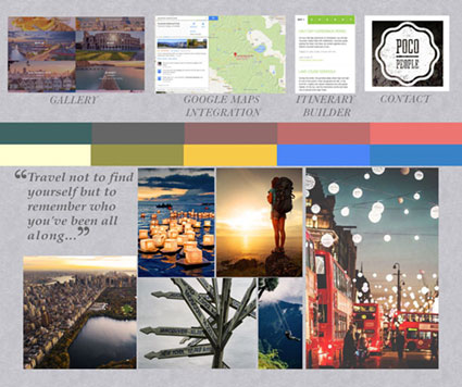 Mood board for travel website