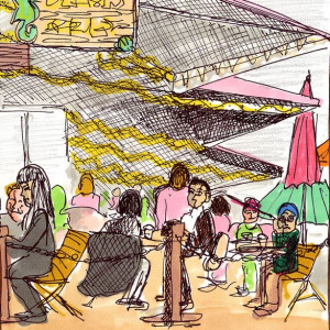Seaport Cafe - Mixed Media Sketch