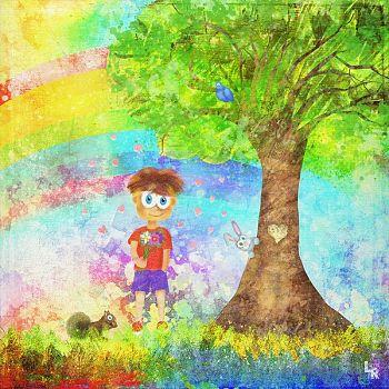 Cute Boy with Flowers - Digital Illustration