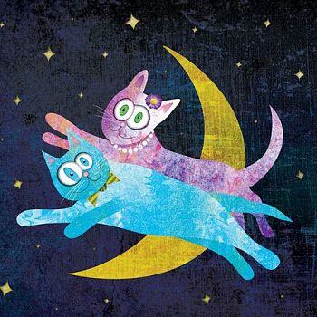 Cat Lovers Over the Moon - Digital Illustration
